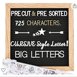 NEW Felt Letter Board With Numbers, Stand, Cursive